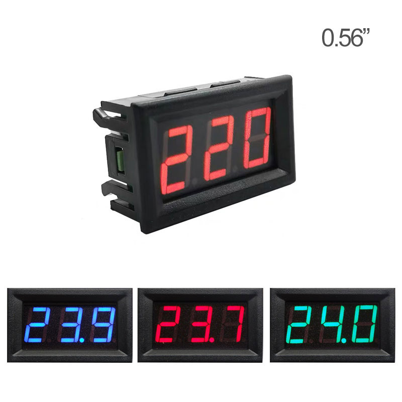0.56'' Digital Voltmeter Calibrate Reading AC 30-500V  DC 3.5-30V DC 0-120V Red Green Blue LED Display Voltage Meter 2wire 3wire