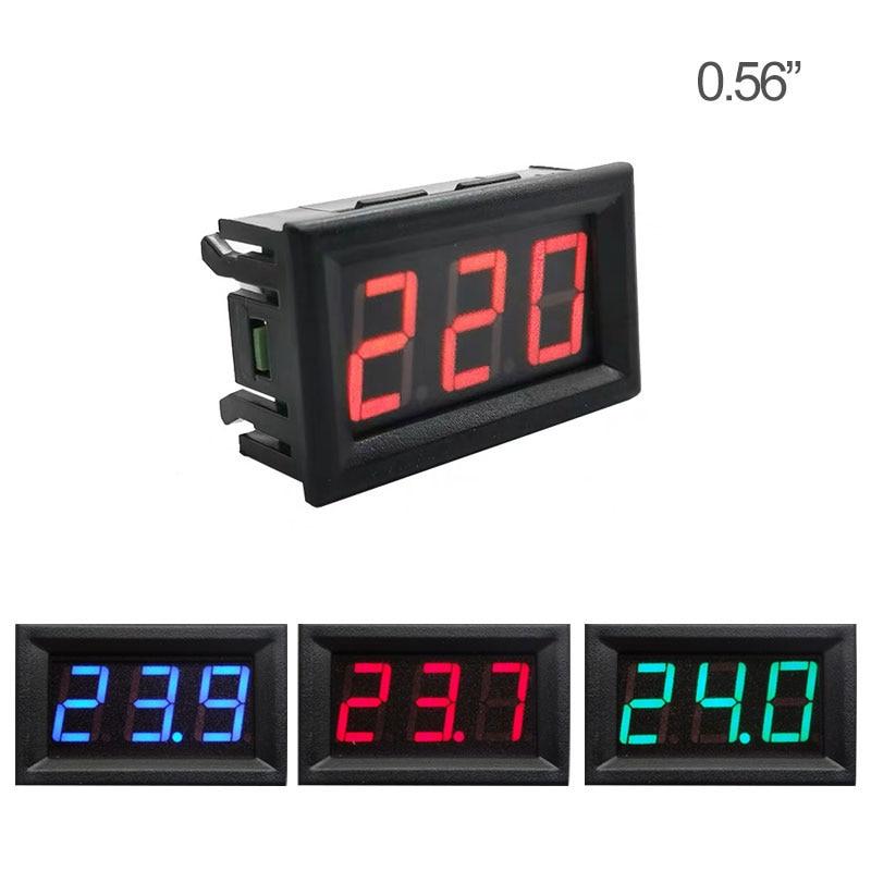 0.56'' Digital Voltmeter Calibrate Reading AC 30-500V  DC 3.5-30V DC 0-120V Red Green Blue LED Display Voltage Meter 2wire 3wire