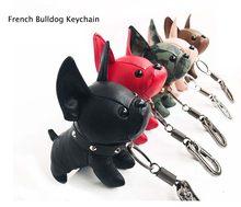 Porte-clés en Faux cuir, Mini bouledogue, chiot, pendentif, décoration de voiture, bibelot Punk Chaveiros