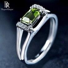 باجو رينجن خاتم فضة 925 مع 6*4 مللي متر الطبيعية ريكتانج الزبرجد الأحجار الكريمة المشاركة حفلة زفاف هدية بالجملة