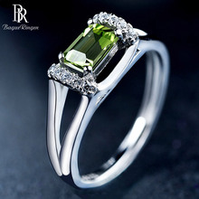 Bague Ringen  Sterling Silver 925 Ring with 6*4mm  Natural Rectange Peridot Gemstone Engagement Wedding Party Gift wholesale