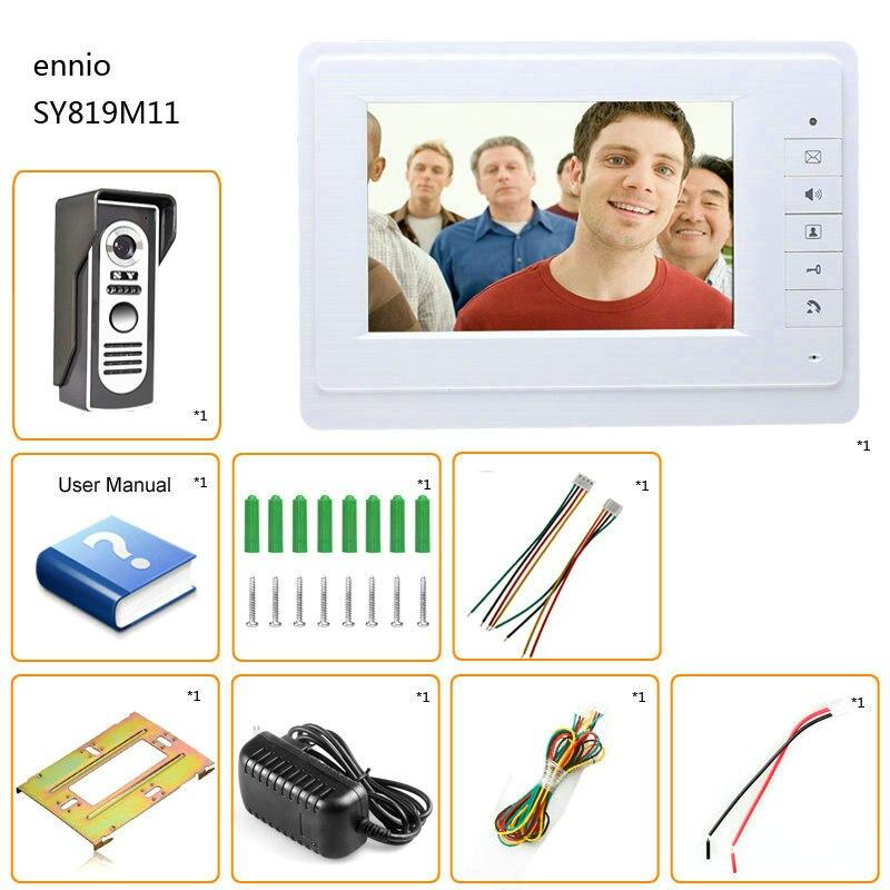 "Купить с кэшбэком MOUNTAINONE Wired Video Door Phone Intercom System 7""Color LCD With Waterproof Digital Doorbell Camera Viewer IR Night Vision"