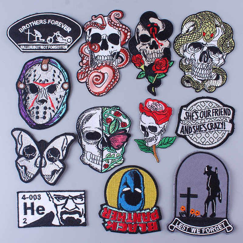 Pulaqi Punk Rosa cráneo parche hierro en parches para ropa bordado insignia apliques Rock negro DIY accesorios calavera parches Decoración