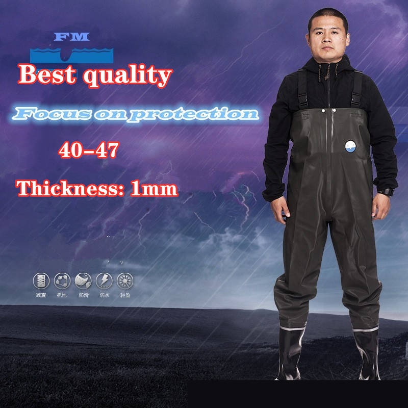 Professional Fishing Pants boots Waterproof PVC Thickened 1mm waders Non-slip Rubber Shoes Water Wading Hunting Work Fly Fish 47