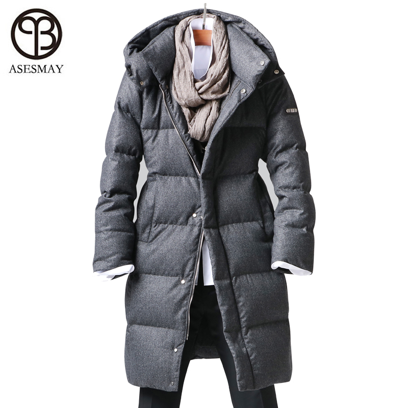 Asesmay New Arrival White Goose Down Jacket Men's Winter Coats Casual Thick Feather Parkas Wellensteyn Hoodies Male Down Jackets