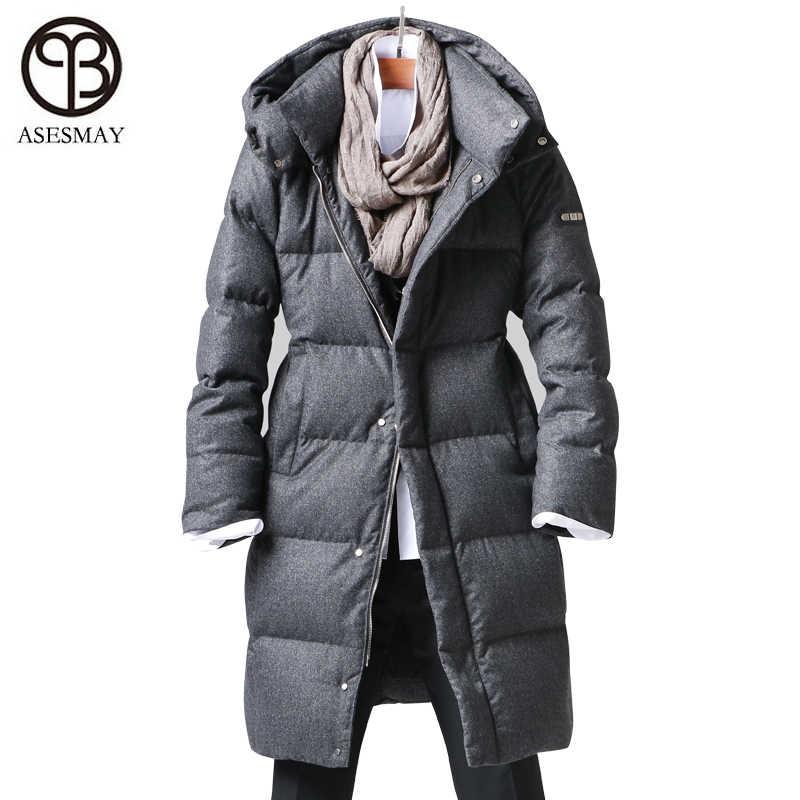 Asesmay Новое поступление белая куртка на гусином пуху мужские зимние пальто повседневный толстый пуховик wellensteyn толстовки мужские пуховики