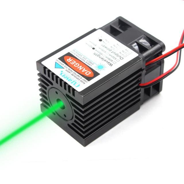 جهاز ليزر ليزر عالي الطاقة 1 وات 1000 ميجاوات 520nm وحدة ليزر خضراء جهاز ليزر طارد للحشرات مزود بمروحة تبريد دورة عمل طويلة