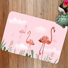 Flamingo Printed Flannel Floor Mat Living Room, Bedroom, Kitchen, Absorbent and Antiskid Mat pebble series flannel printing home anti slip absorbent entry mat bathroom mat door mat bedside mat