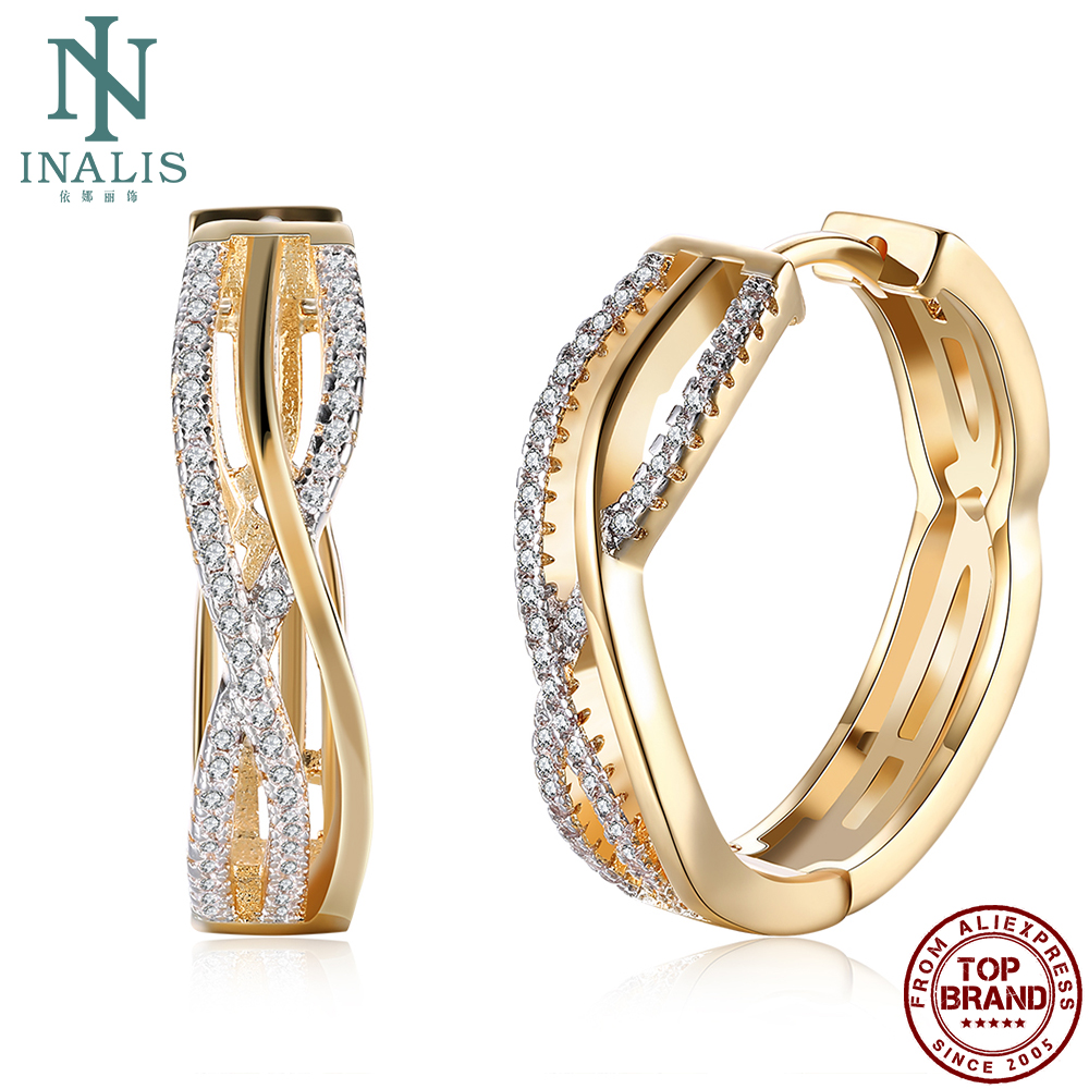INALIS Hoop Earrings Women Fashion Zircon Line Shape Romantic Personality Ring Earrings Classic Party Wedding Jewelry Earring