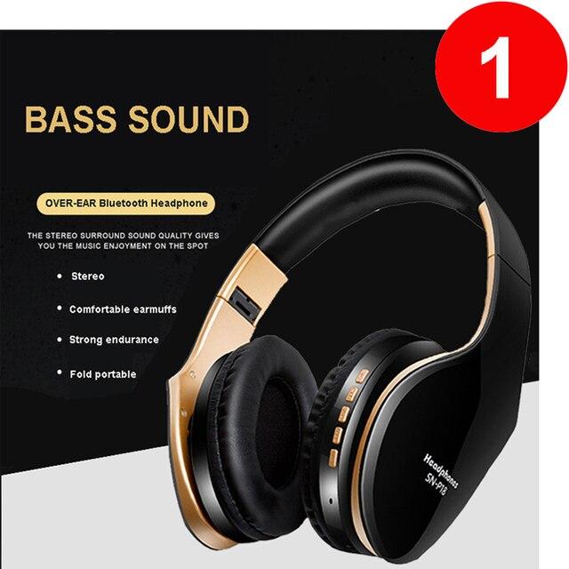 Casque sans fil casque Bluetooth sur loreille stéréo basse écouteur pliable réglable écouteurs de jeu avec micro pour téléphone PC