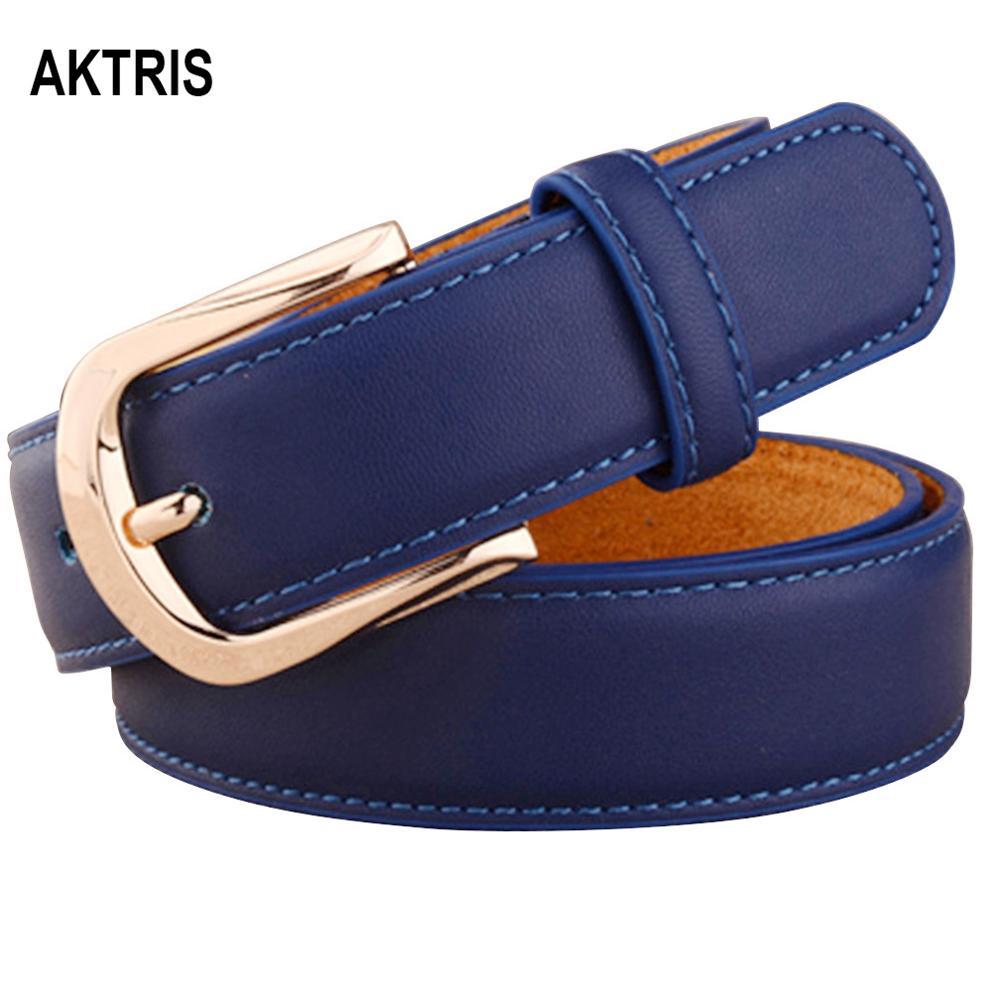AKTRIS Women Belts Luxury Brand Blue Genuine Leather Fashion Women's Pin Buckle Belt 2.8cm Wide Female Accessories 2019 FCO078