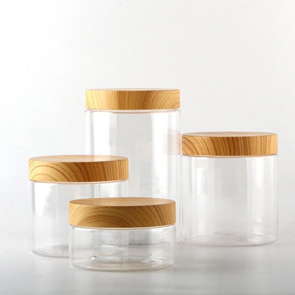 Wood Lid Plastic Airtight Canister Kitchen Storage Bottles Jar ...
