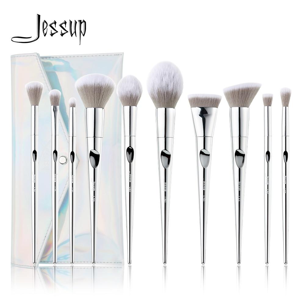 Jessup Makeup Brushes Set 10pcs Prime Pincel Maquiagem Fantasy Silver Powder Eyelashes Eyeshadow Brush Cosmetic BagT261&CB007