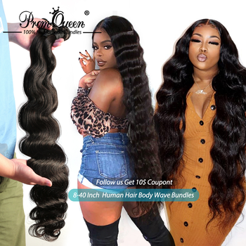 Prom Queen Peruvian Human Hair Bundles Body Wave 1/3/4 Double Machine Weft 100% Human Hair Weave Bundles Remy Hair image
