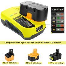 Cargador P117 para Ryobi, 12V 18V, cargador de batería Dual de iones de litio ni cad Ni Mh, fuente de alimentación máxima de 12V a 18V