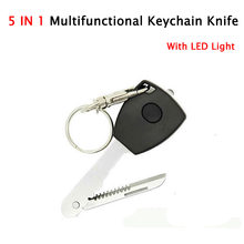 5 In 1 EDC Key Shape Led Keychain Lights with Kinfe Camping Equipment Outdoor Survival Kit Self Defense Tool For Women Wholesale(China)
