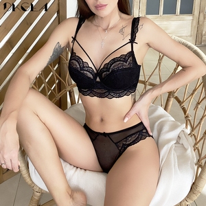 New Top Thin Cotton Brassiere Sexy Bra Set Bandage Temptation Lace Underwear Set Plus Size Black Embroidery Bras Women Lingerie
