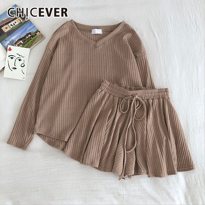 CHICEVER Korean Knitted Two Piece Set For Women Long Sleeve Blouse High Waist Drawstring Shorts Female Suit 2020 Summer New
