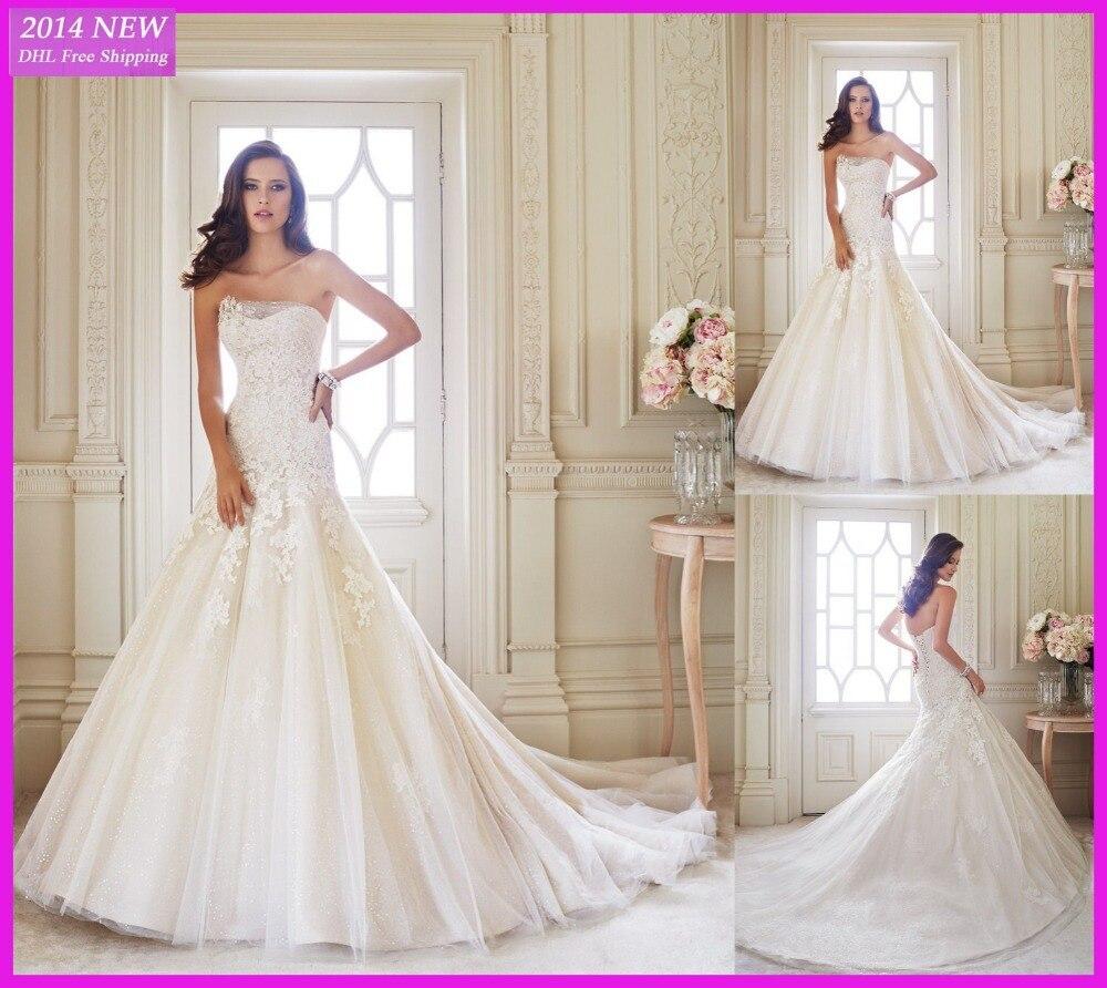 Primavera 2019 Glamourosa A- Querida Linha Mangas Ata Com Apliques Vestidos De Noiva Vestido De Noivas Dy-101
