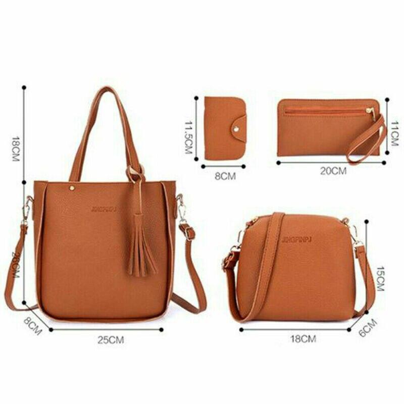 4Pcs/Set Women Lady Leather Handbags Messenger Shoulder Bags Purse Tote Satchel