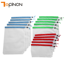 15Pcs 3 ขนาดถุงตาข่ายผลิตกระเป๋าล้างทำความสะอาดได้เป็นมิตรกับสิ่งแวดล้อมกระเป๋าสำหรับถุงผลไม้ผักOrganizer Pouch