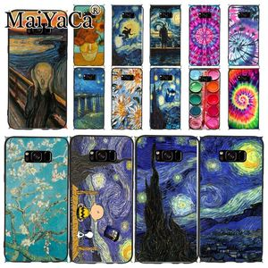 Phone Case For samsung galaxy s10 s9 s8plus note8 note9 note10 Van Gogh Starry Night star Scenery flower Palette Scream by Munch(China)
