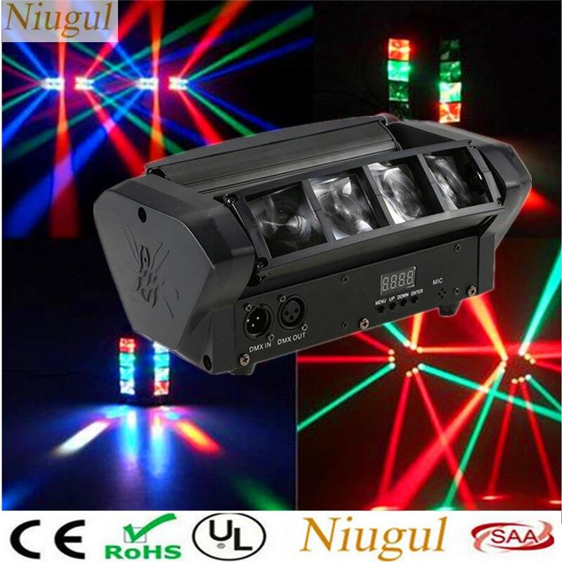 Professionnel 8X10W Mini LED Lumière D'araignée DMX512 RGBW LED Faisceau Lumière Principale Mobile/Le Spot de Scène De Noël Vacances Lumières DJ Équipements