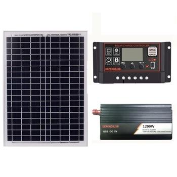 18V20W Solar Panel +12V 30/40/50/60A Controller + 1200W Inverter Dc12V-Ac230V Solar Power Generation Kit, For Outdoor And Home(5