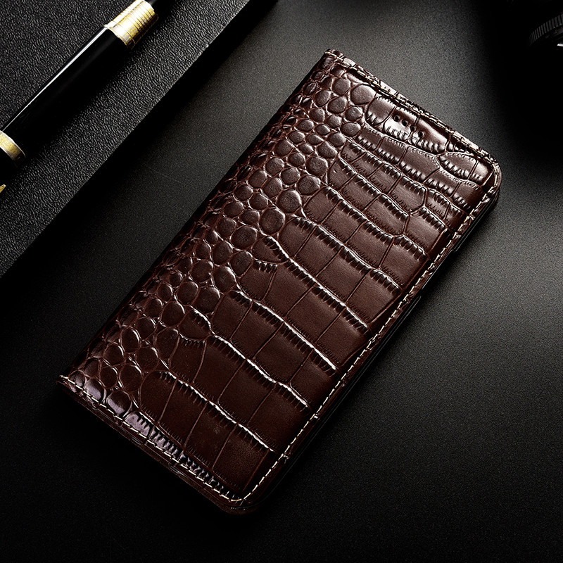 Crocodile Genuine <font><b>Leather</b></font> <font><b>Case</b></font> For <font><b>Sony</b></font> <font><b>Xperia</b></font> <font><b>1</b></font> L1 L2 L3 <font><b>Case</b></font> for <font><b>Xperia</b></font> 10 Plus Flip Cover Wallet Phone Shell image
