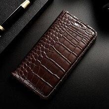 Krokodyl oryginalne skórzane etui do Samsung Galaxy S6 S7 krawędzi S8 S9 S10 S20 Plus 5G S10E uwaga 8 9 10 20 Pro Ultra odwróć pokrywa