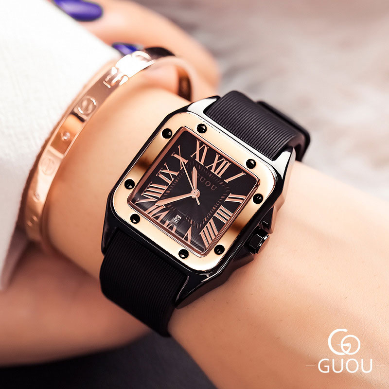 Fashion GUOU Brand Watch Rectangula Quartz Ladies Women's Watches Leather Upscale Large Dial Top Luxury Women Relogio Feminino