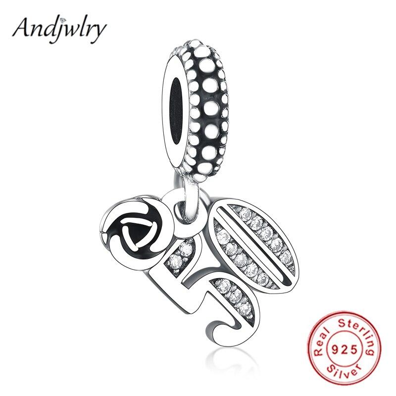 Fit Original Pandora Charms Bracelet 925 Sterling Silver 50th Celebration Dangle Charm Pendant DIY Jewelry Berloque
