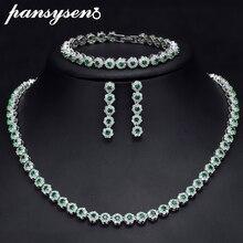 PANSYSEN Свадебные помолвки 925 Серебряное ожерелье/серьги/браслет ювелирный набор Новая мода Изумрудный камень женские украшения наборы