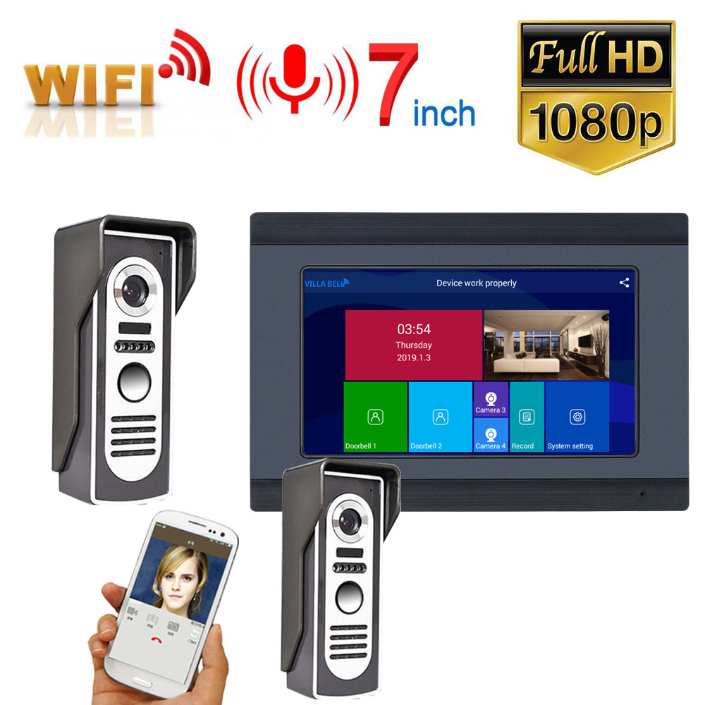 7 Inch Wired Wifi Video Door Phone Doorbell Intercom Entry System With 2pcs HD 1080P Wired Camera Night Vision