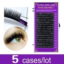NAGARAKU bulk sale 5 cases Faux Mink eyelash extension individual False eyelashes make up tools beauty salon