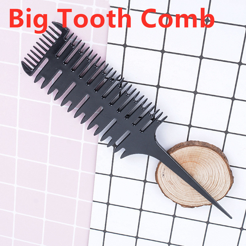 1PC Colorful Women Big Tooth Comb Hair Dyeing Tool Barber Salon Style Haircut Comb With Tail Fish Bone Shape Massage Comb