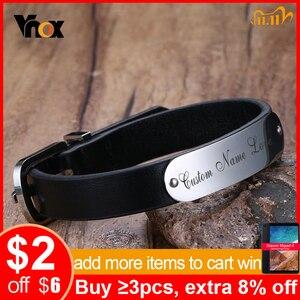 Image 1 - Vnox Mens Free Custom Engraving Name Love Date Inspirational Messages Black Genuine Leather Bracelets Bangles Size Adjustable