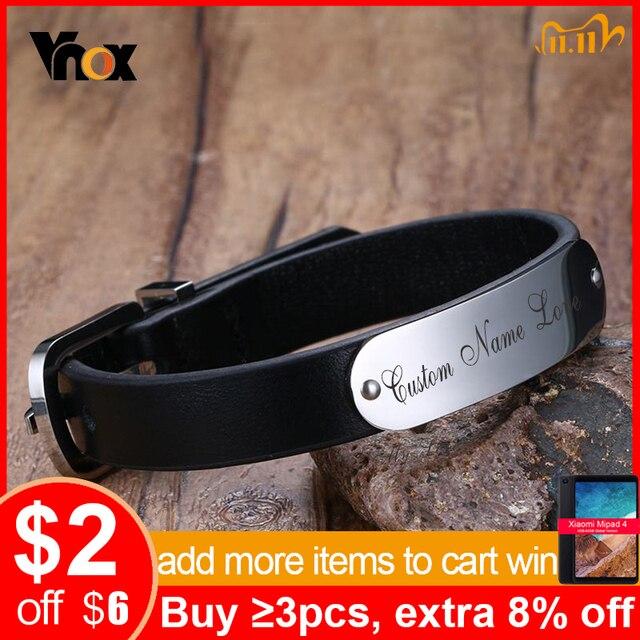 Vnox Mens Free Custom Engraving Name Love Date Inspirational Messages Black Genuine Leather Bracelets Bangles Size Adjustable