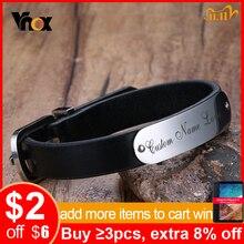 Vnox masculino livre personalizado gravura nome amor data mensagens inspiradoras preto couro genuíno pulseiras tamanho ajustável