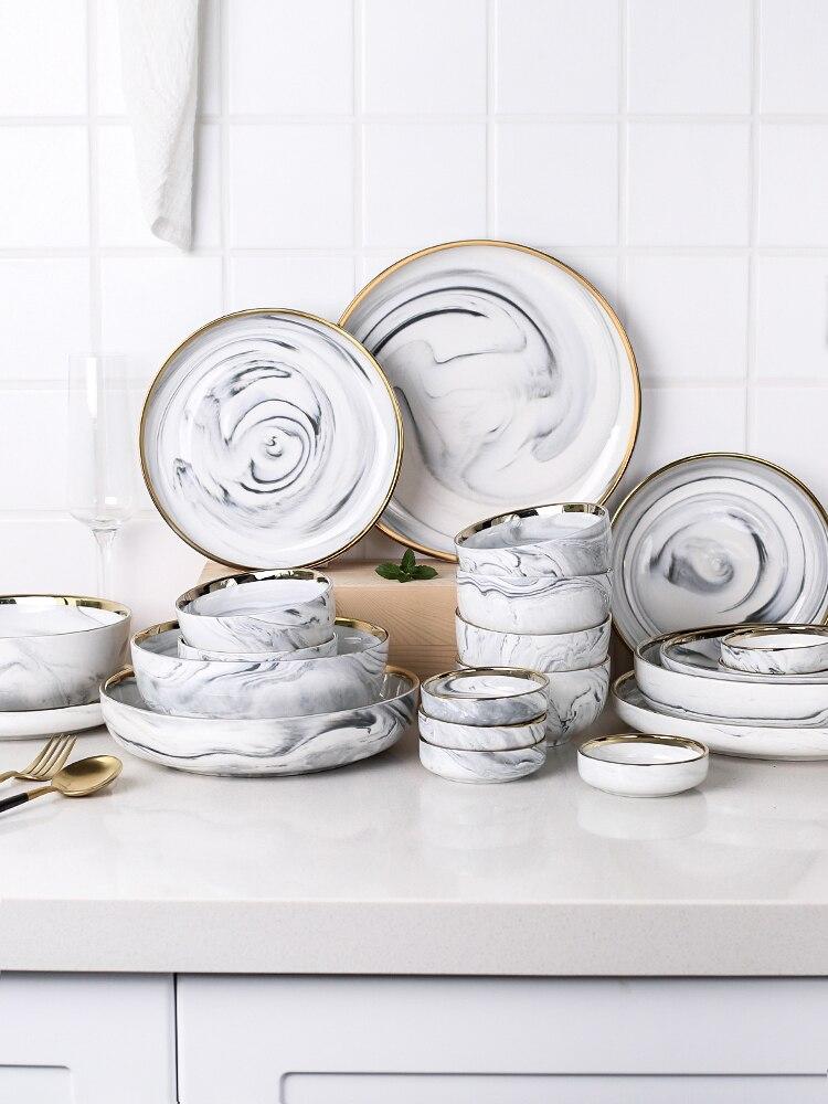 Vaisselle en céramique de luxe Phnom   Ensemble de vaisselle de luxe, bols assiettes baguettes plats ménage humidificateur, assiette en porcelaine