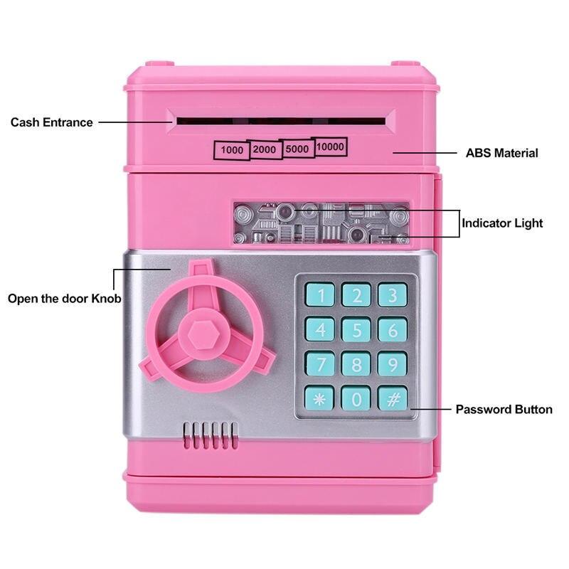 2019 New Piggy Bank Mini Atm Money Box Electronic Password Chewing Coin Cash Deposit Machine Gift For Children Kids