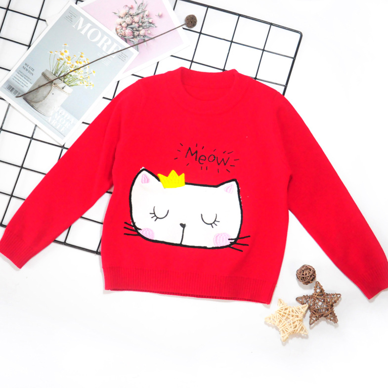 2019 Girls Autumn And Winter New Style Children Cotton Double Layer Warm Pullover Knitting Shirt