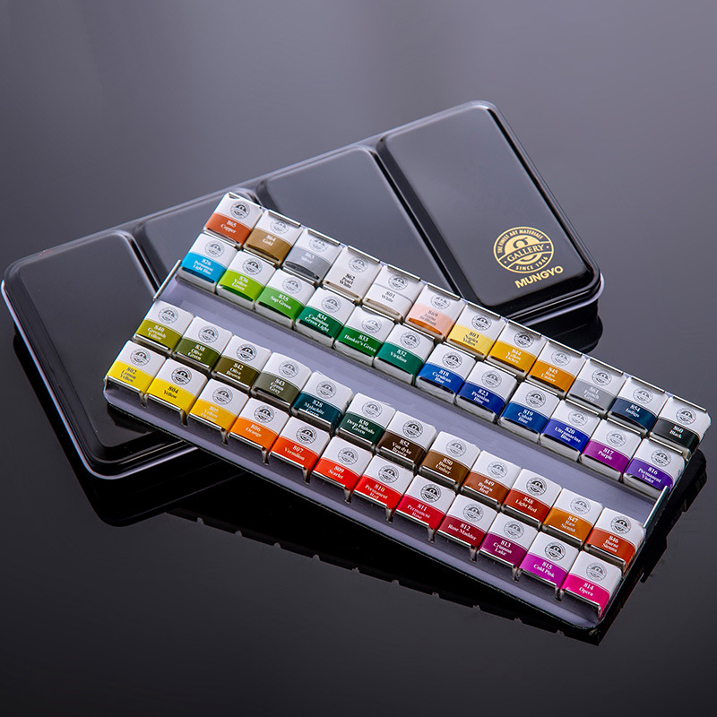 12/24/48 Colors Watercolor Paint Set Solid Water Color Metal Box Oil Painting Pigment for Student Art Supplies