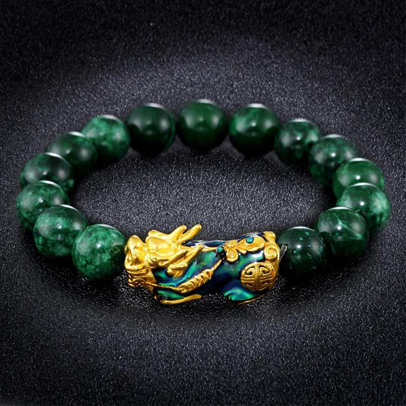 Golden PIXIU Bracelet For Women Men Green Beads Couple Bracelet Bring Lucky Brave Wealth Feng Shui Bracelets for men
