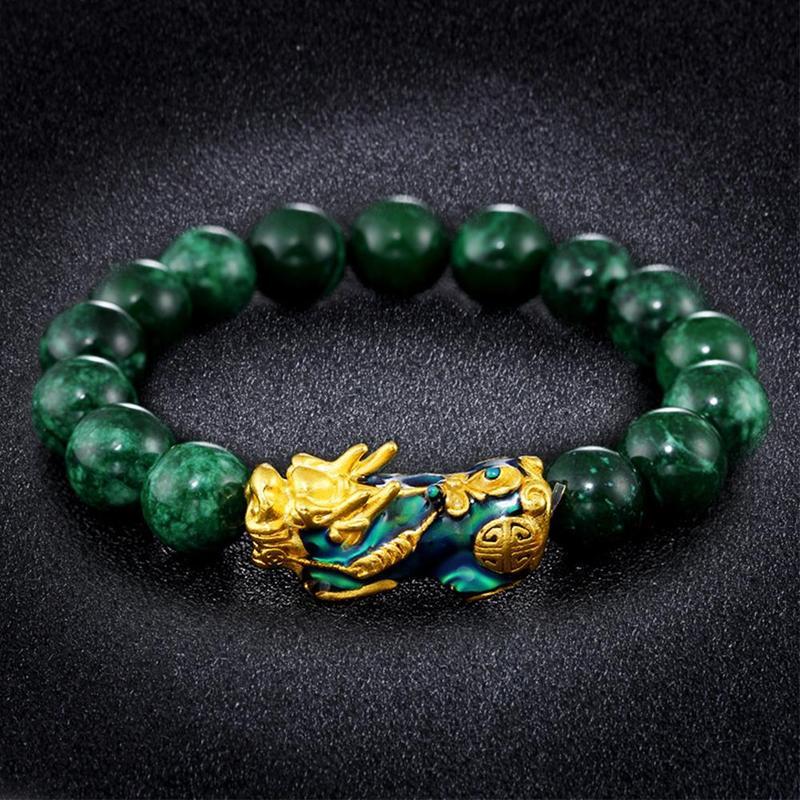 Golden PIXIU Bracelet For Women Men Green Beads Couple Bracelet Bring Lucky Brave Wealth Feng Shui Bracelets for men