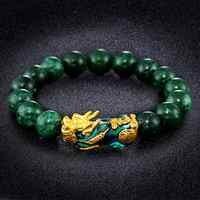 Goldene PIXIU Armband Für Frauen Männer Grün Perlen Paar Armband Bringen Glück Tapferen Reichtum Feng Shui Armbänder für männer