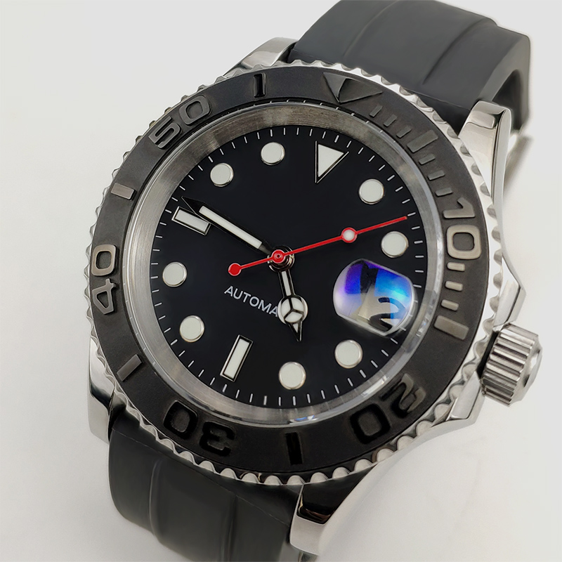 2019 Automatic Mechanical Watch Men Wrist Yacht Diver Master 40mm Sapphire Crystal Silicone Ceramic Bezel Male Clock