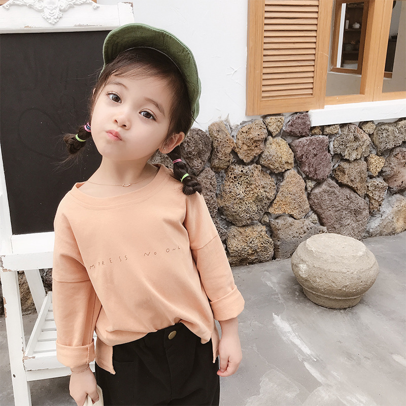 2019 Children Autumn Letter T-Shirt Boy and Girl Round Neck Long Sleeve Top
