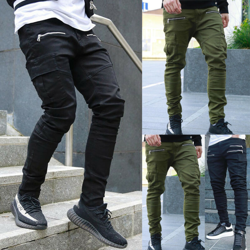 Fashion Men`s Gym Slim Fit Trousers High Quality Skinny Joggers Sweat Track Pants Zipper Sports Casual Jeans