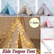 1,3м-большой брезентовый вигвама-палатка для детей, вигвама Типи с серыми помпонами, индийская Игровая палатка для дома, Детская Типи-футболка, палатка без коврика